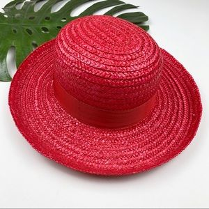 Vintage Saks Fifth Avenue Red Straw Hat Italy